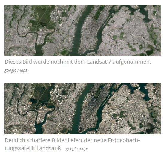 Google Earth ist schärfer geworden. Google hat das Bildmaterial des beliebten Kartendienstes aufgefrischt. Die schärferen und aktuelleren Bilder wurden mit dem NASA-Satelliten Landsat 8 geschossen, berichtet das US-Unternehmen auf seinem Latlong-Blog.