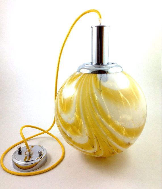 Murano Large Glass Globe Pendant Light / Vintage by Lambater