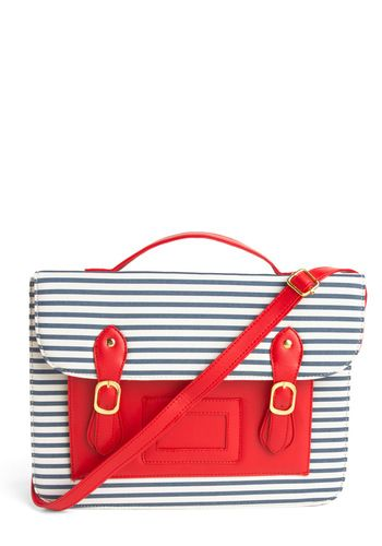 Satchel with blue stripes and red pocketNautical Style, Favorite Things, Messenger Bags, Laptops Bags, Satchel Modclothcom, Nautical Design, Mod Retro, Nautical Theme, Retro Vintage