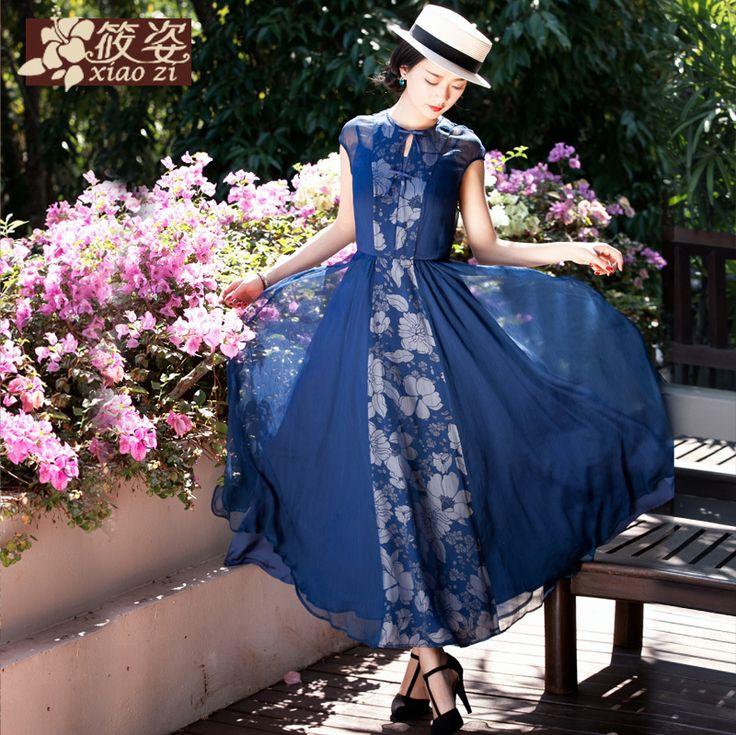 Pulp Xiaozi Lan 2015 primăvara și vara sifon rochie fals două rochie cu mânecă scurtă