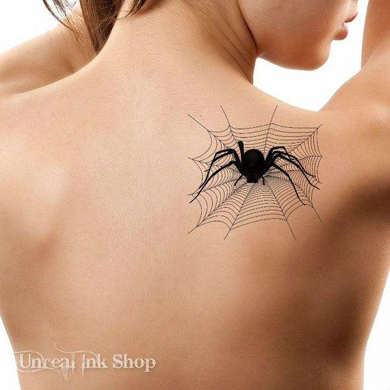 Halloween Temporary Tattoo  1 Spider Web  Tattoos by UnrealInkShop