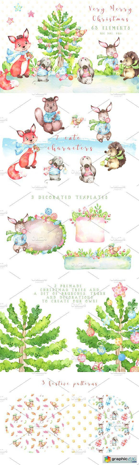 Very Merry Christmas Watercolor set  stock images