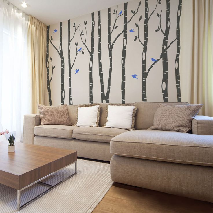 7 Trees Wall Decal River Birch Forest Woodland