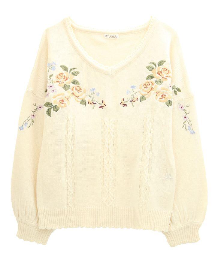 お花刺繍ニットプルオーバー
