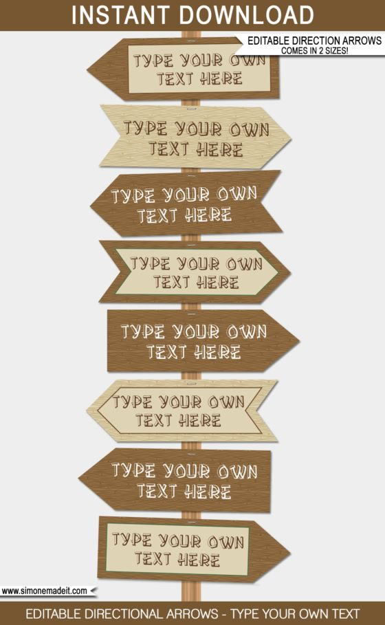 Camping Party Directional Signs   Arrows   Campout Birthday Party   Party Decorations   DIY Editable Templates   Ledger 11x17 inches   A3   $4.50 via SIMONEmadeit.com