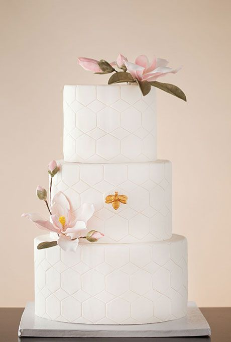 "White ""Honeycomb"" Wedding Cake - love this for an outdoor wedding!"