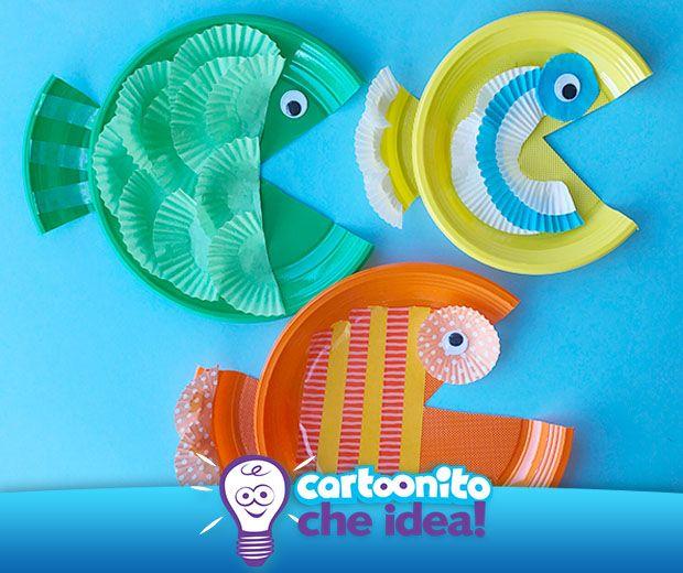 Con pirottini e piatti di plastica, cosa ci possiamo fare? Dei pesciolini da appendere al muro! Scopri come fare su #Cartoonitocheidea