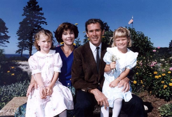 George and Laura Bush and their twin daughters. President Bush joined Delta Kappa Epsilon at Yale University. His wife and daughters are Kappa Alpha Theta members.