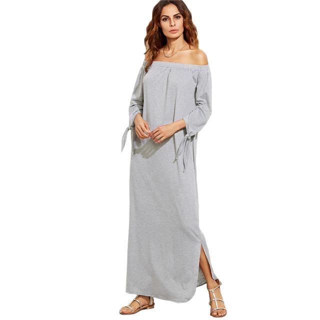 Grey Off The Shoulder Maxi Dress Gender  Women Sleeve Length(cm)  Full  Neckline  Slash neck Silhouette  Straight Sleeve Style  Off the Shoulder  Dresses ... 52bb94ed0d71