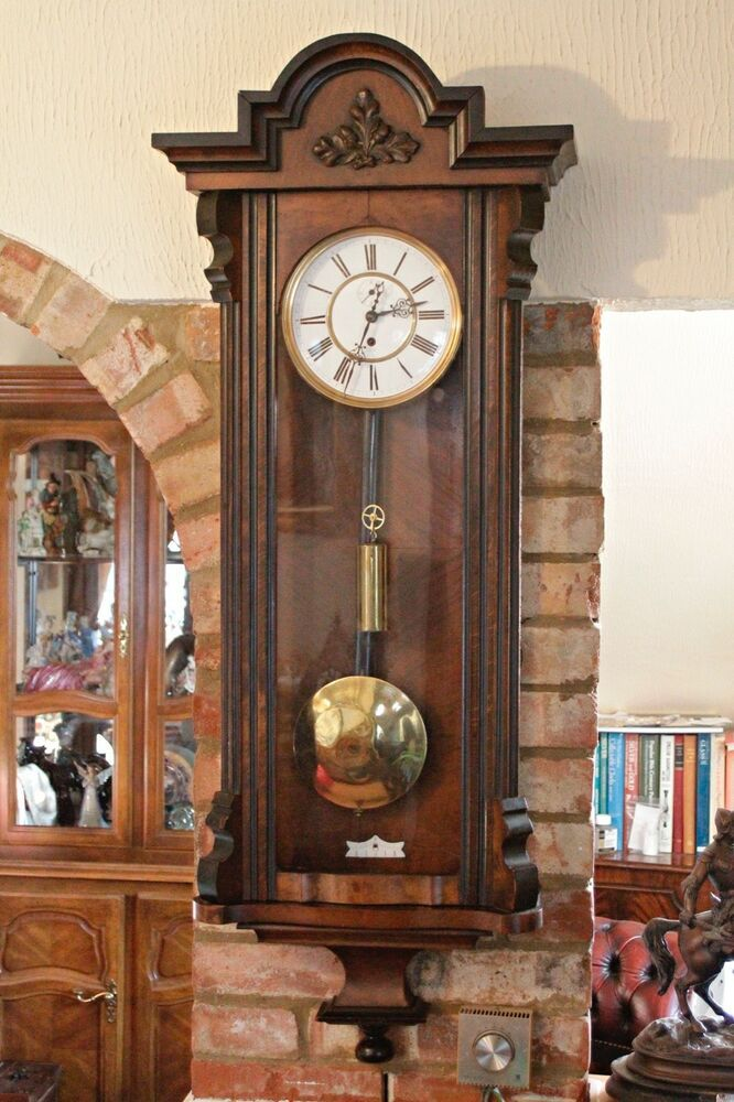 Antique German Single Weight Walnut Case 8 Day Vienna Wall Clock 19th Century Wall Clock Clock Antiques