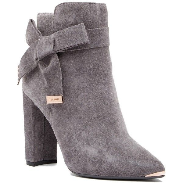 Ted Baker London Sailly Pointed Toe Boot ($130) ❤ liked on Polyvore featuring shoes, boots, dk grey, grey high heel boots, ted baker boots, gray tall boots, high heel shoes and gray boots