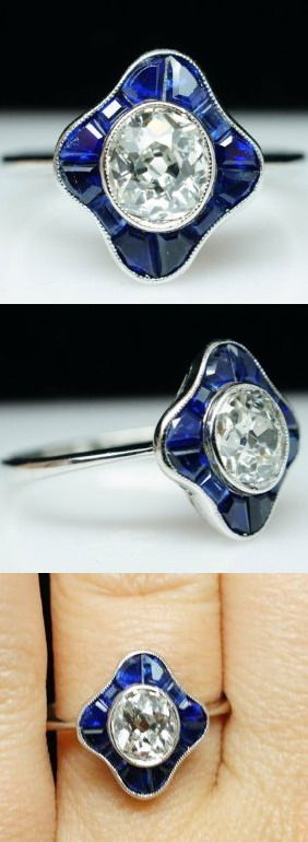 Antique Art Deco Sapphire Flower Old Mine Cut Diamond Ring in Platinum