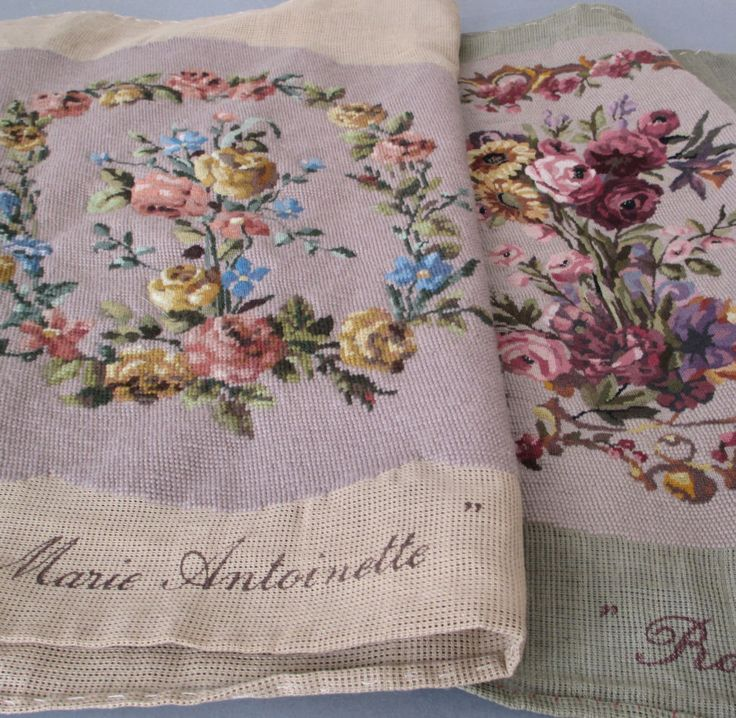 2 Vintage French Needlepoint Petit Point CHAIR Covers MARIE ANTOINETTE  Flowers