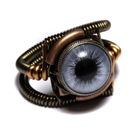 Steampunk Jewelry - RING - BLUE taxidermy glass eye - I wonder if they have one half blue/half brown?