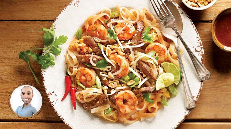 Pad thaï au bœuf et aux crevettes