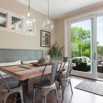 Gray Shiplap Dining Bench with Reclaimed Wood X Based Dining Table, Transitional, Dining Room