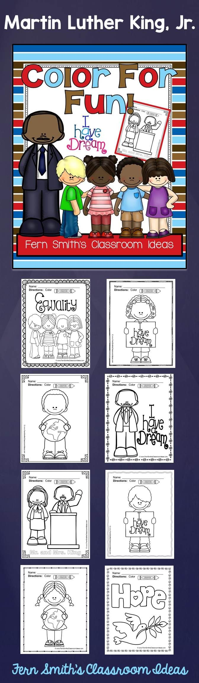 Bookmarks to color of dr king - Martin Luther King Activities Free Martin Luther King Jr Color For Fun Printable