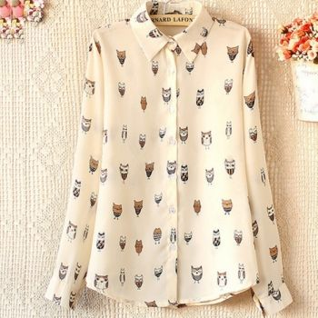 Woman Girl Trendy Collar Owl Print Chiffon Long Sleeve Blouse Top Shirt