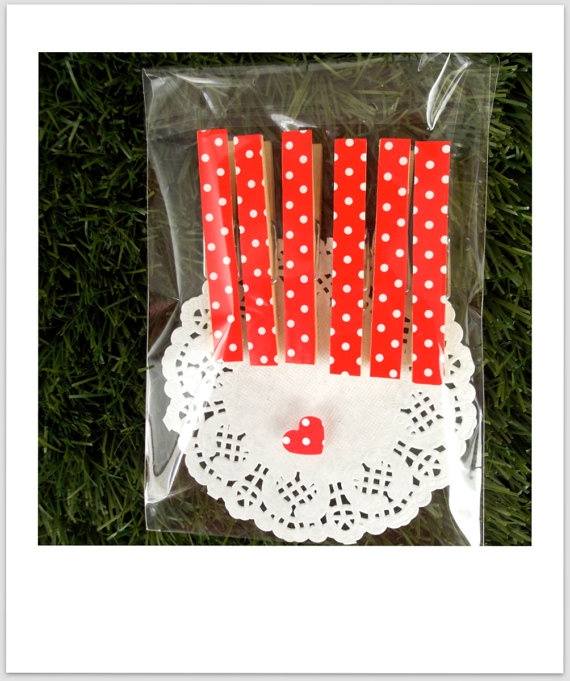 Display Pegs Red & White Polka Dot Pack of 6 by luckydiphandmade, $2.95