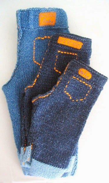 Calça jeans para bebê em tricô