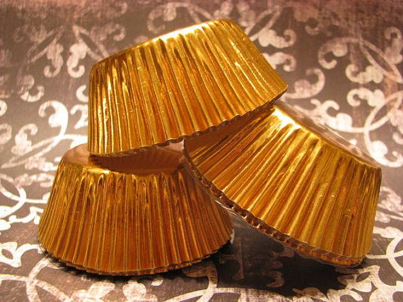 50 Gold Foil Baking Cups/ Gold Cupcake Wrappers/ Gold Cupcake liners on Etsy, $3.79