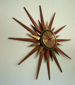 vintage mid century danish modern starburst welby sunburst wall clock eames era ebay