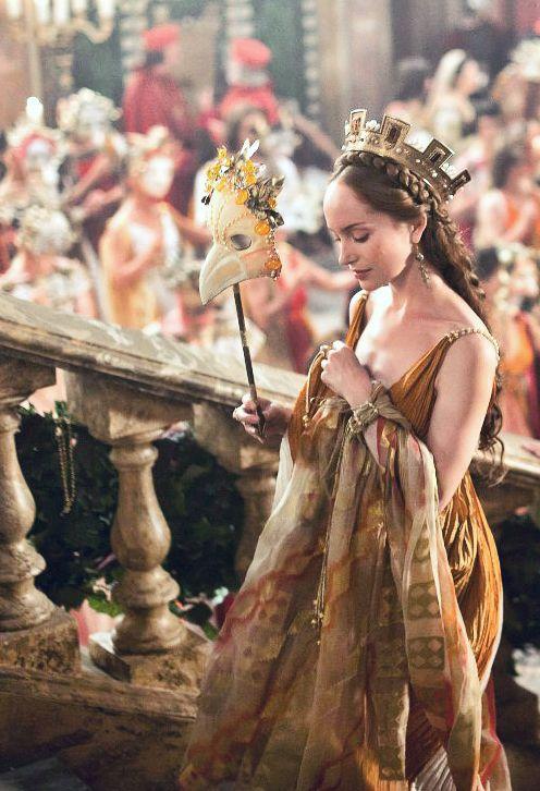 The Borgias. Scene during the Roman masquerade celebration. Giulia Farnese was Minerva. Gorgeous outfit!