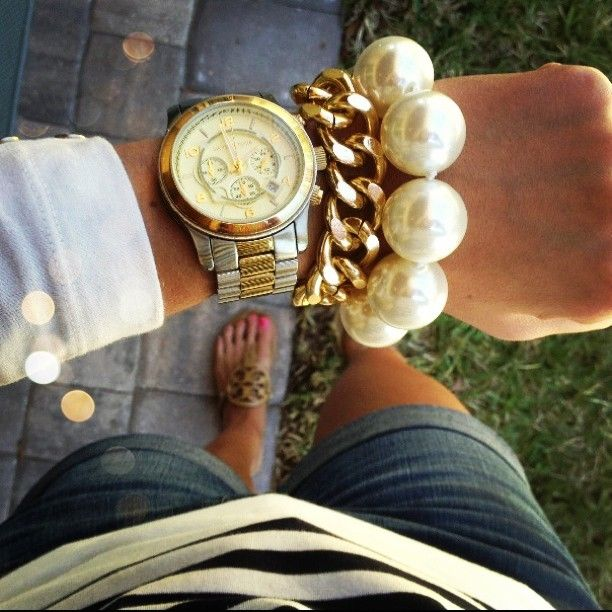 Tory Burch, Michael Kors, pearls & gold chained bracelet