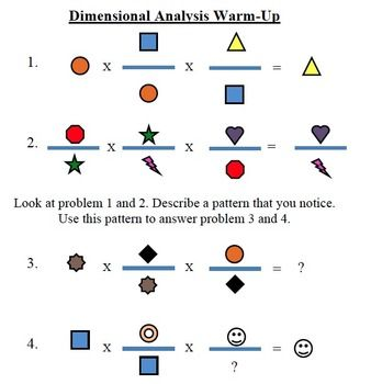 This is a quick warm-up to help illustrate the process of dimensional analysis. It has students look for patterns and discover that units on the top cancel with units on the bottom, using symbols instead of units.