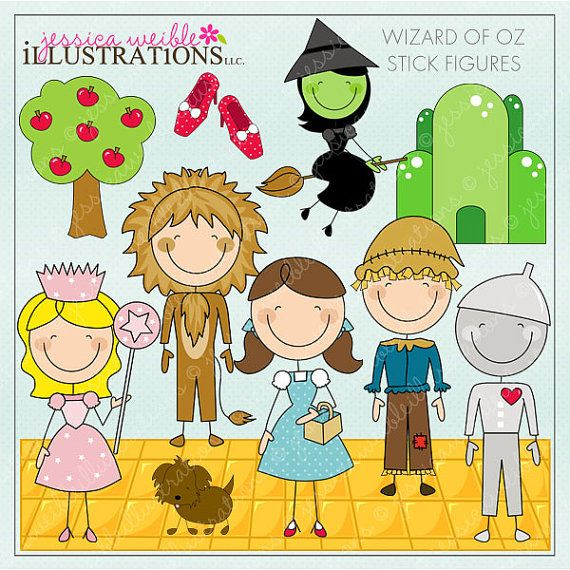 Wizard of Oz Stick Figures Digital Clipart for Invitations, Card Design, Scrapbooking, and Web Design, Wizard of Oz Clipart  $5 Wizard of Oz