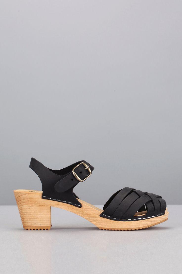 Sandales cuir noires semelle bois Stockholm AS02