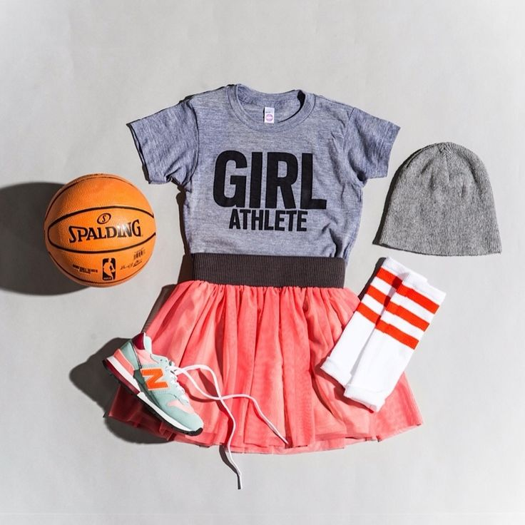 GIRL ATHLETE STYLE: Girl Athlete T-Shirt available in kid + adult sizes // Powerful Pink Tutu // American Apparel Socks + Beanie // New Balance for Crewcuts // Spalding Basketball