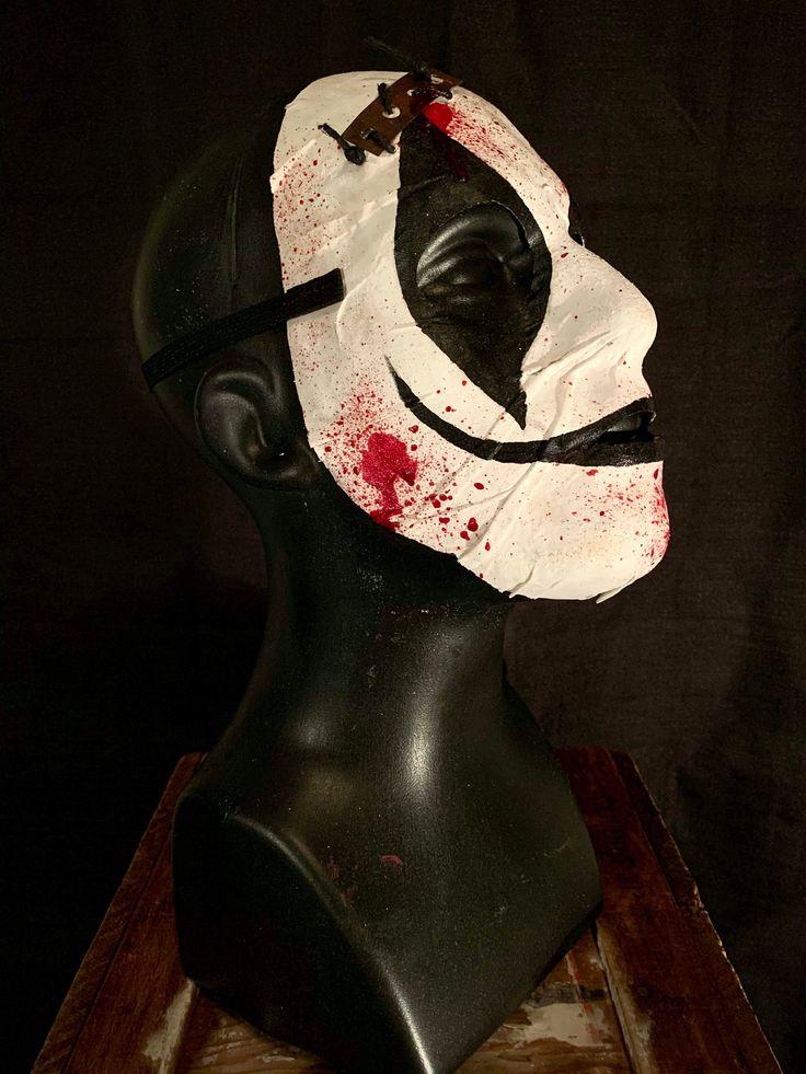 Handmade Black & White Clown Halloween Mask in 2020