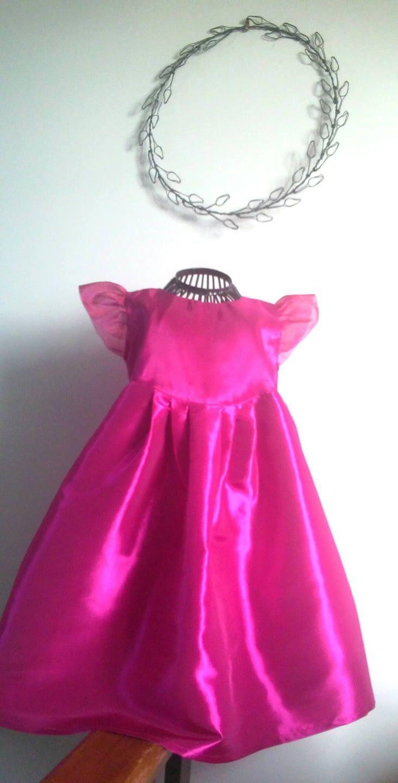 Robe de cérémonie en taffetas rose fuchsia, robe fille à manches papillon, robe cortège ou de cérémonie, robe du soir ou de fête pour enfant