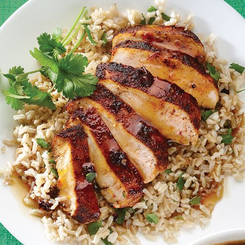 Orange Chipotle Chicken with Cilantro Rice: This was okay. Spicy but not much flavor. Took a long time to make. Use thin chicken breasts.