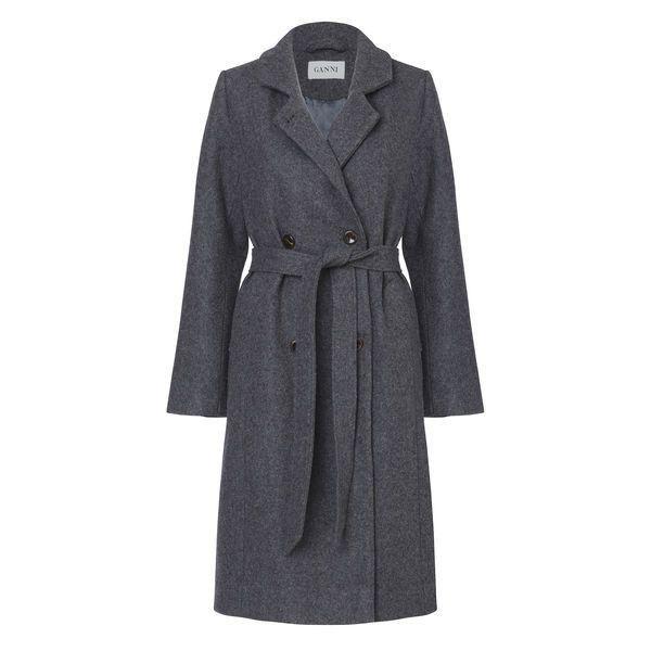 Malin wool Coat (2.910 DKK) via Polyvore featuring outerwear, coats, lapel coat, woolen trench coat, double-breasted wool coat, waist belt and double breasted coat