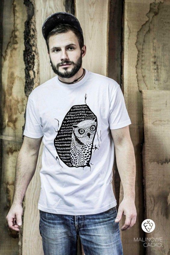 Koszulka Męska Sowa Pójdźka - Malinowe Cacko