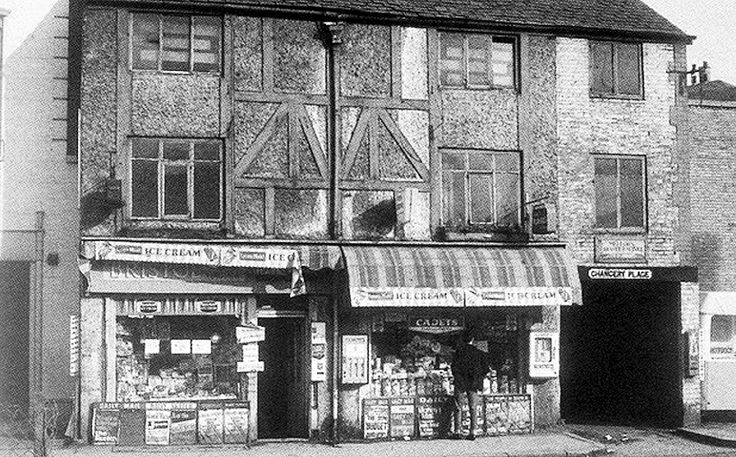 Franks newsagent in Broad Marsh in 1969. A timber framed building and one of the last shops in the district before it was demolished to make way for the Broad Marsh Shopping Centre.