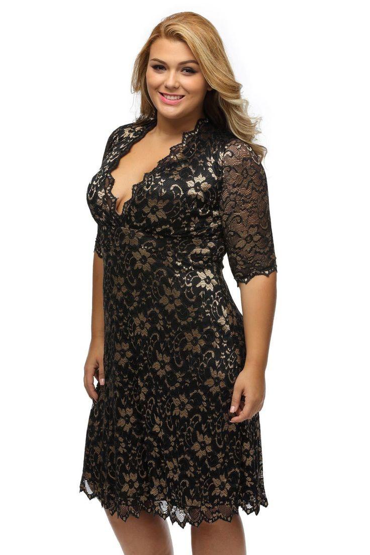 Robes Soiree Formelle Dentelle Fleur Grandes Tailles Mi Longue Marron Pas Cher www.modebuy.com @Modebuy #Modebuy #Marron #Grande #style #mode