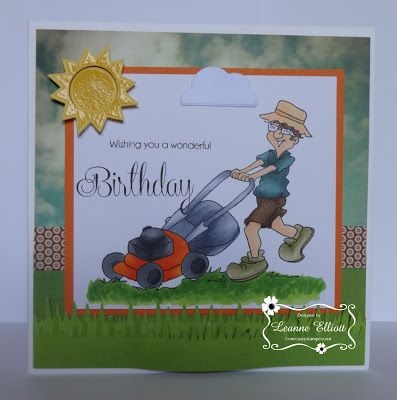 ONECRAZYSTAMPER.COM: Birthday Wishes by Leanne using High Hopes Stamps Bob Loves Grass (T518)