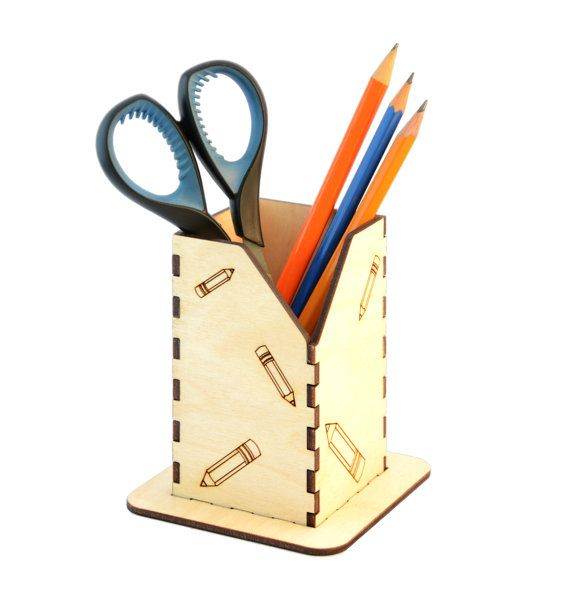 Wooden Pencil Holder / Laser Cut Holder / by InspirativeLaser