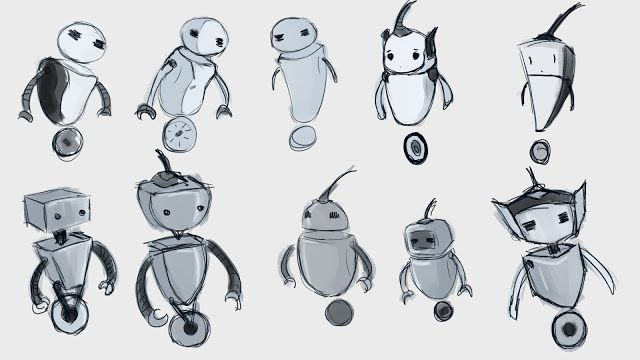 Doodling robots for my still-image animation.