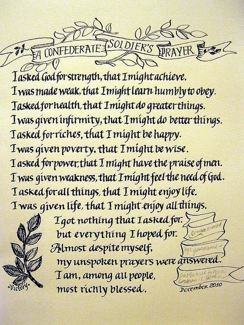 A Confederate Soldier's prayer