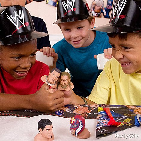 Thumb wrestling match! See who the World Thumb Wrestling Champ is with awesome & official WWE Thumb Superstars. Click for lots more WWE party ideas!