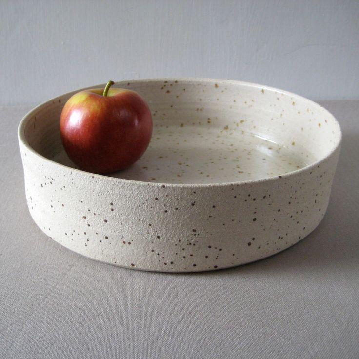 Modern Fruit Bowl in Speckled Stoneware Clay, Cylinder Serving Platter, Handthrown Pottery, Ecru Neutral Decor by judeallman on Etsy https://www.etsy.com/listing/230377442/modern-fruit-bowl-in-speckled-stoneware