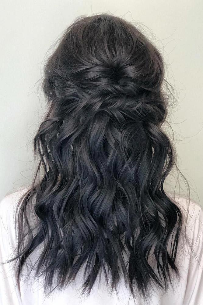 bohemian wedding hairstyles medium black wavy half up half down swept christyyoo_artistry #WeddingHairstyles – #black #bohemian #christyyoo