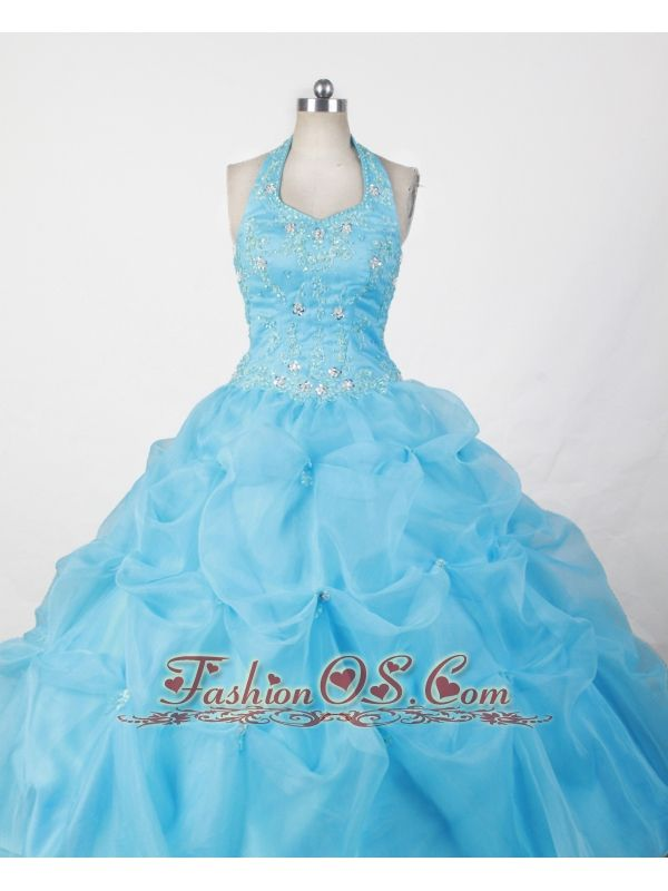 Halter and Baby Blue For Appliques Little Girl Pageant Dresses- $159.89  www.fashionos.com    the making of a child beauty queen in niort   miss black america style dresses in cayenne   yiolanda koppel discount little girl gown   philippa forrester fashonos designer discount pageant gown for teens   bubbled cinderella dresses for little girls  