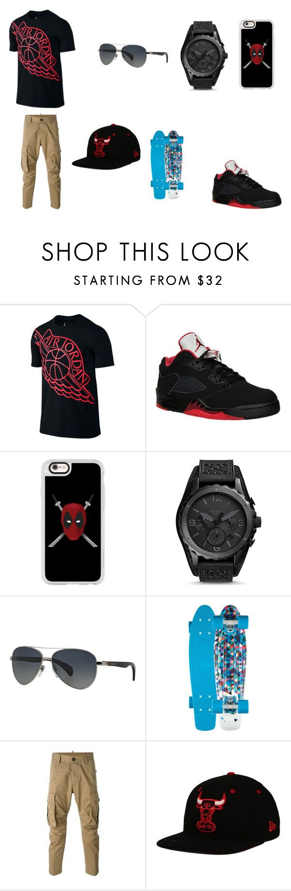 """Air Jordan Swag pt.1"" by sirrekage ❤ liked on Polyvore featuring Jordan Brand, NIKE, Casetify, FOSSIL, Bulgari, Dsquared2, New Era, men's fashion and menswear"