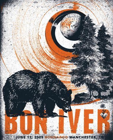 Bon Iver concert poster by Andy Vastasgh