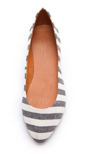 Madewell Porchstripe Skimmer Flats - Bleached Linen (Item# 64518) #madewell
